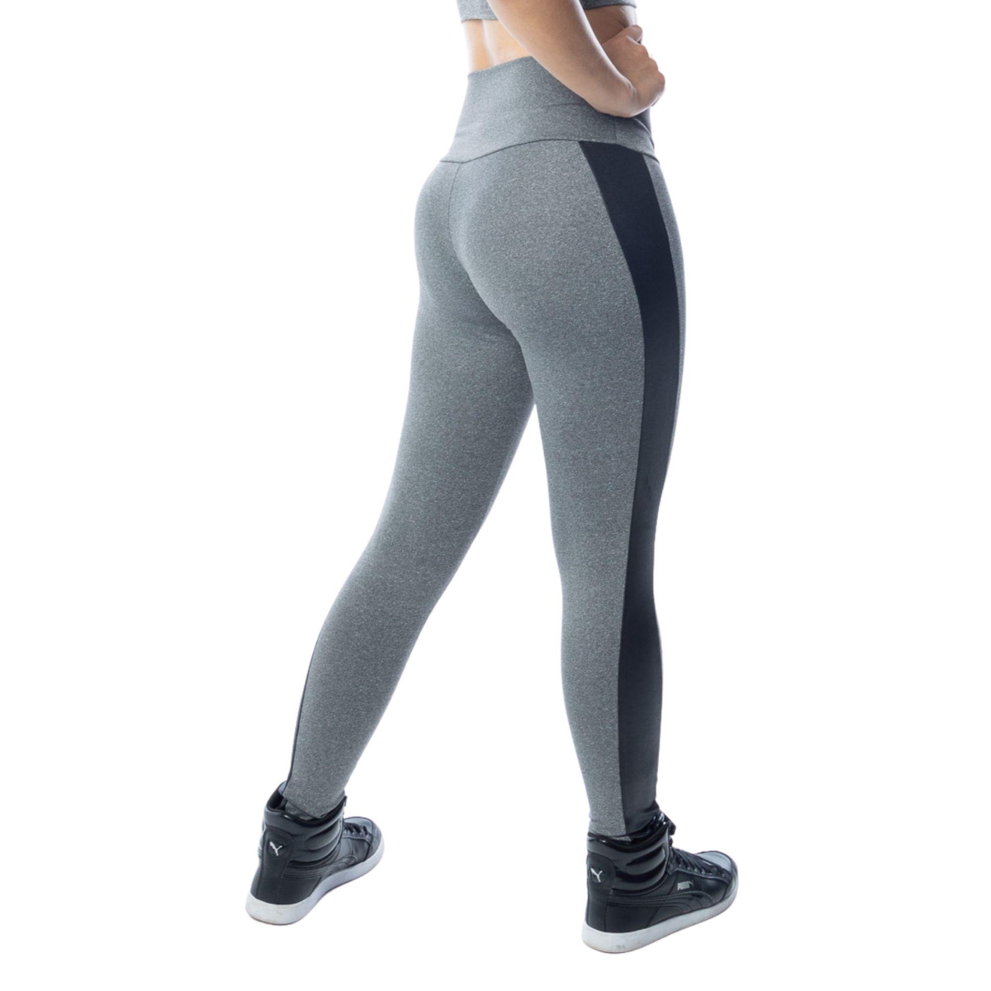 Calça Legging Fitness Cinza Cintura Media