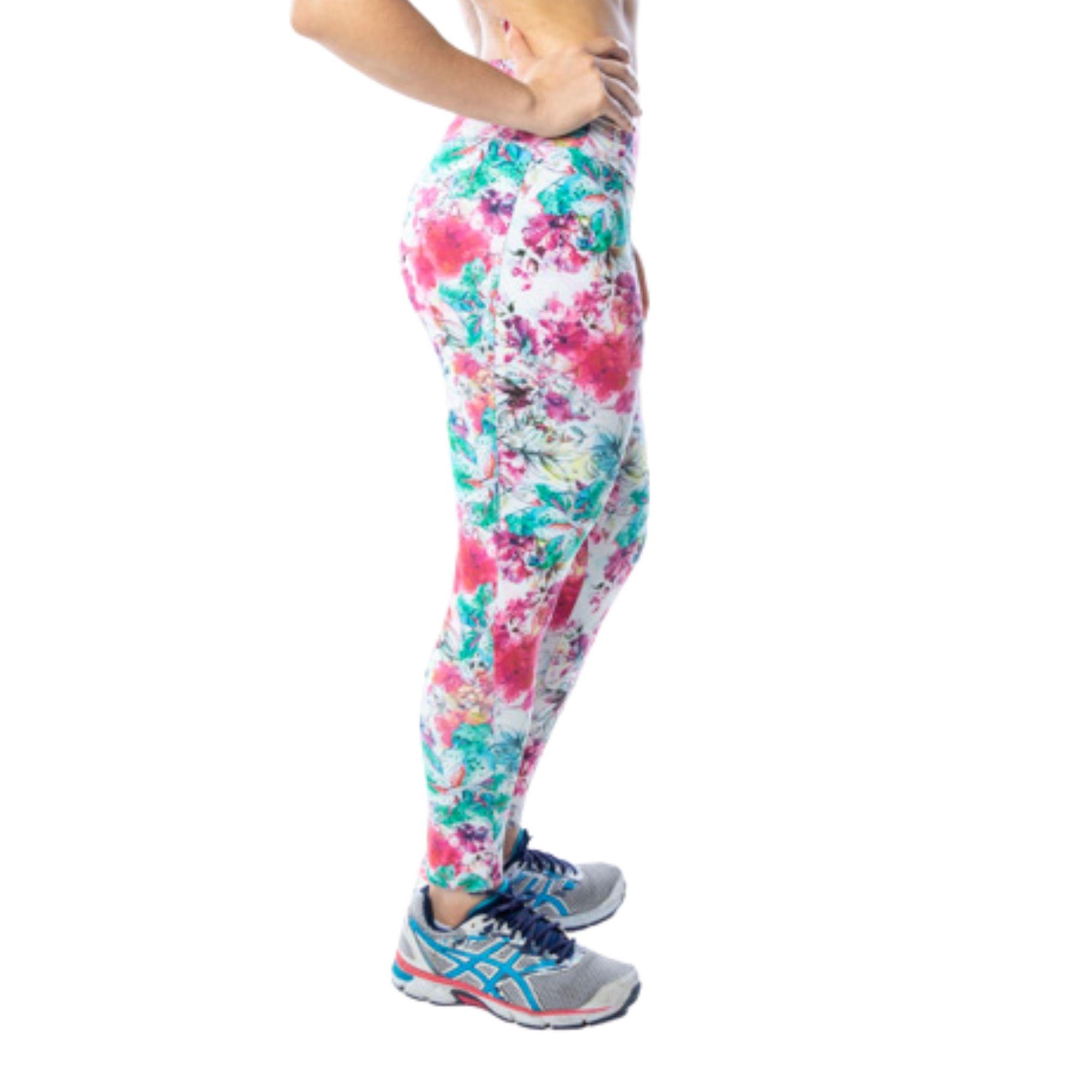 Calça Legging Fitness Floral Branca