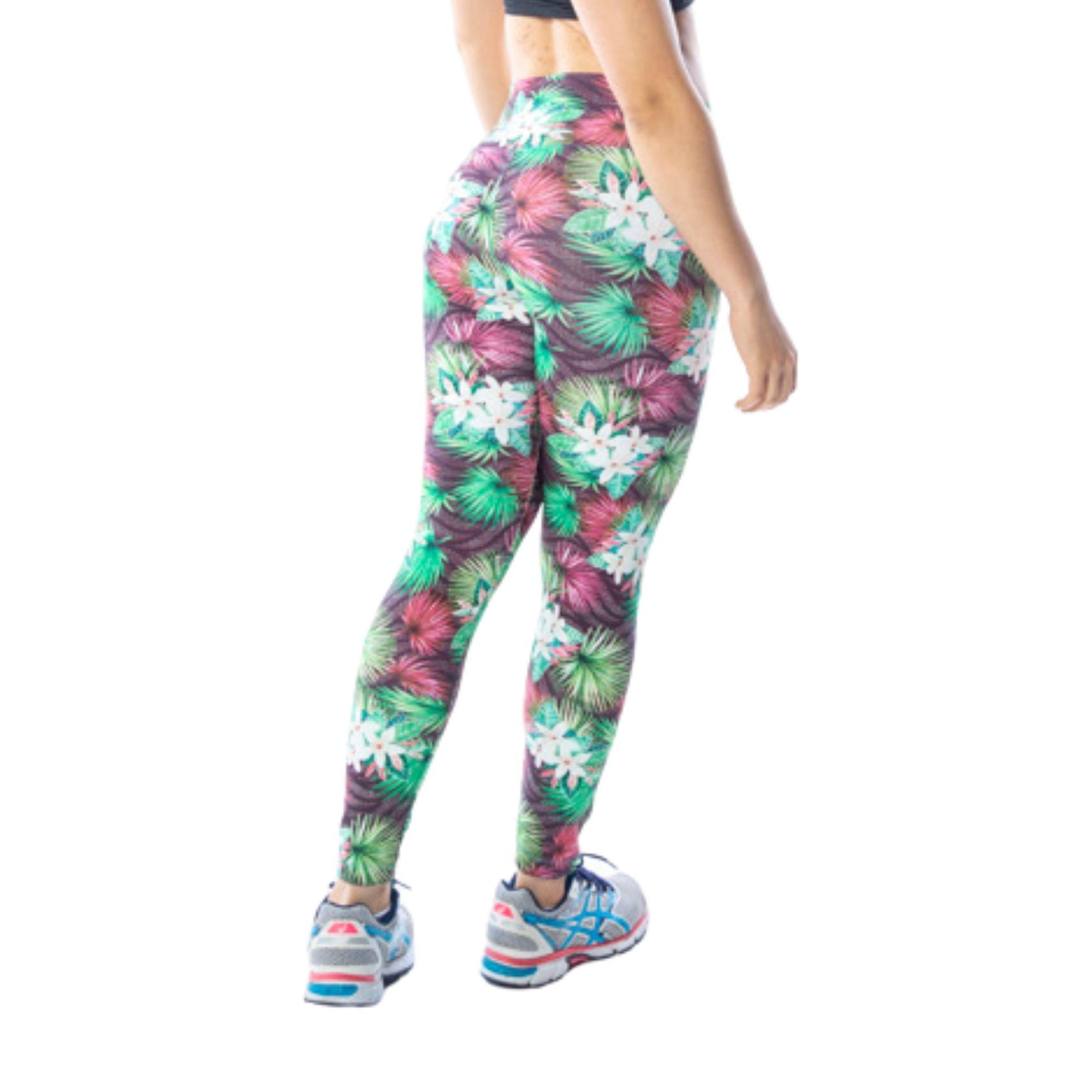 Calça Legging Fitness Floral Verde