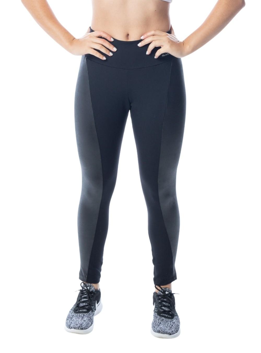 Calça Legging  Fitness Preta Poliamida com Recortes