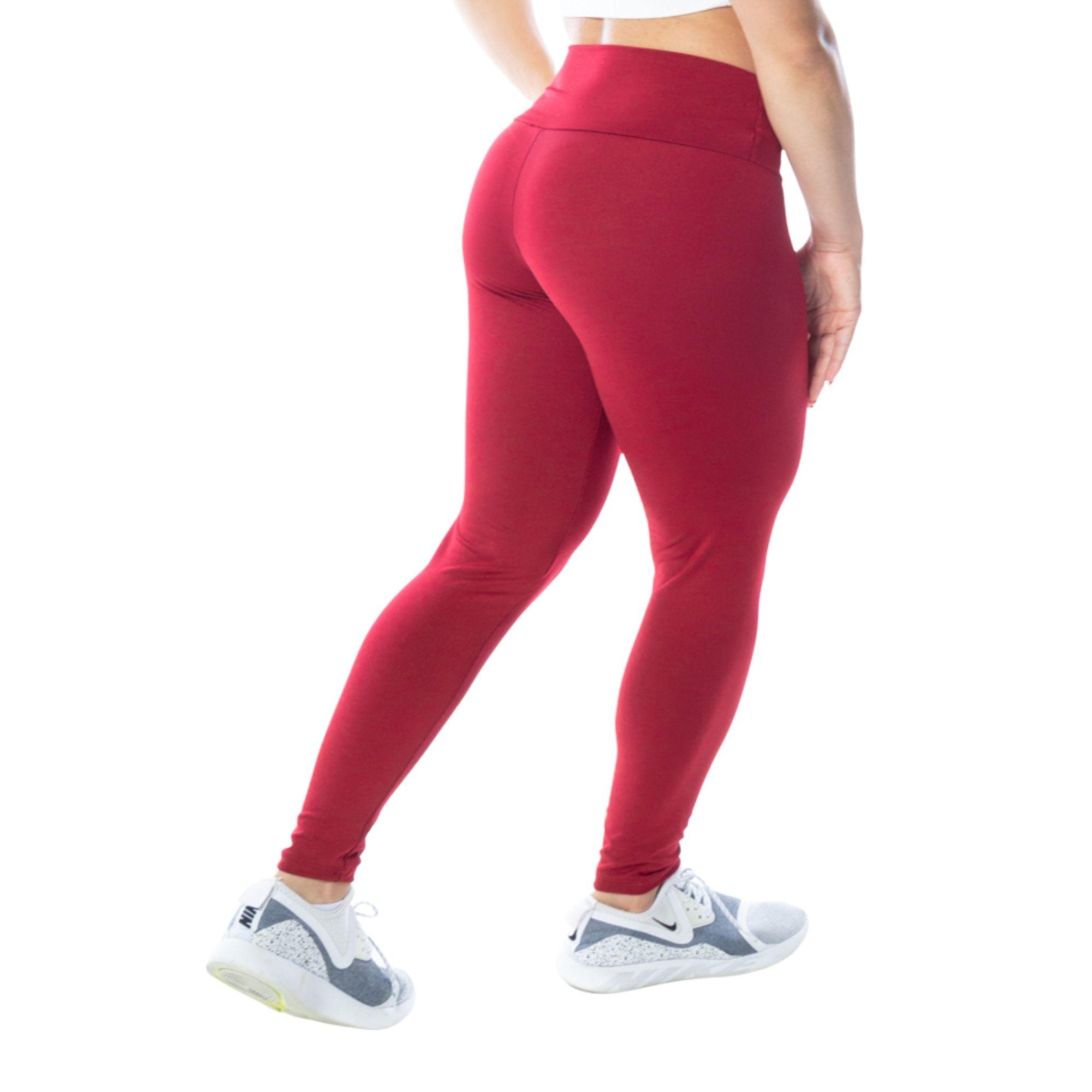 Calça Legging Fitness Vermelha Suplex