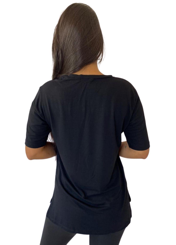 Camiseta Feminina Tapa Bumbum Manga Curta Preta