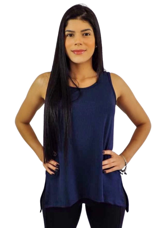 Camiseta Regata  Dry Fit Feminina Azul Marinho Flor de Ameixa