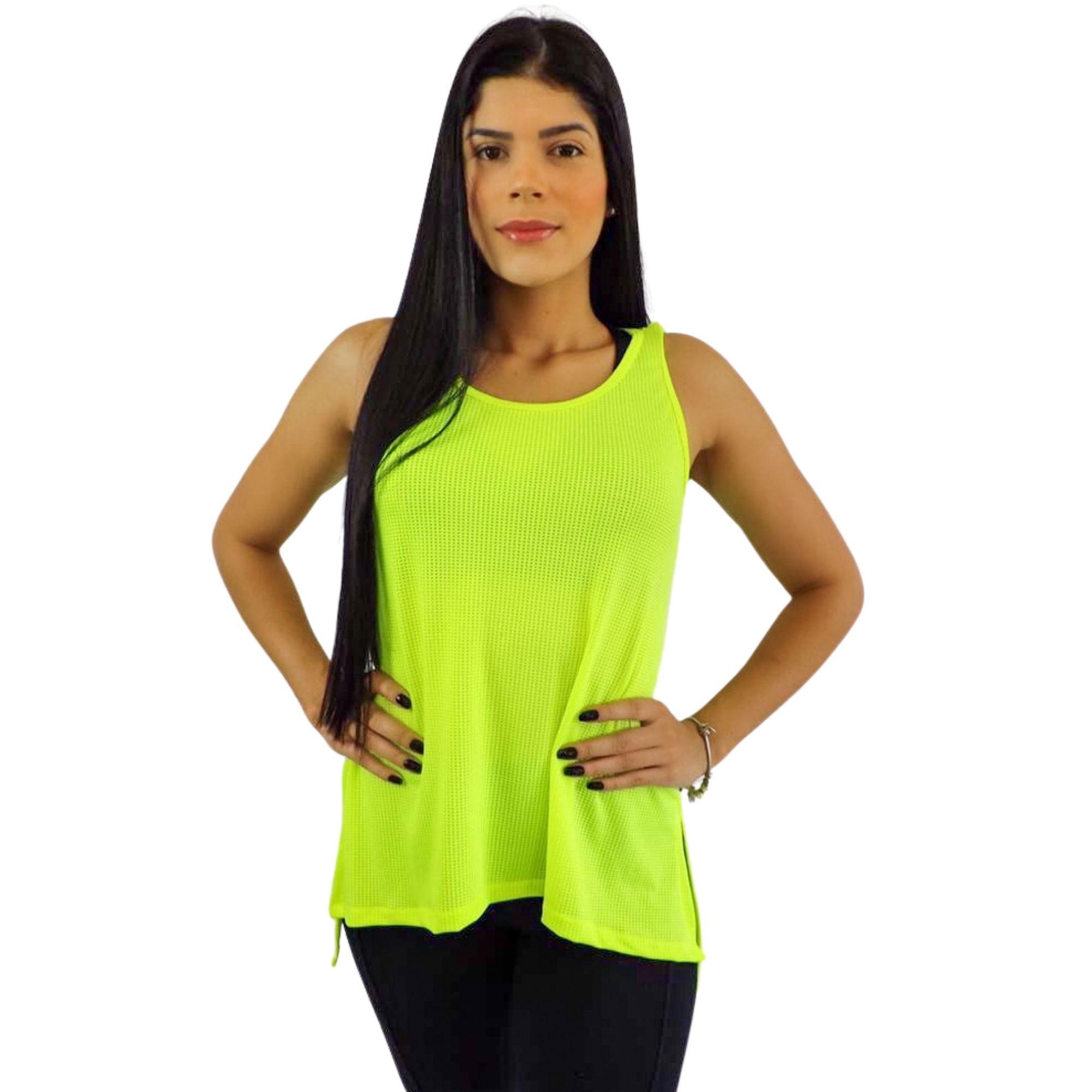 Camiseta Regata Feminina Dry Fit Amarela