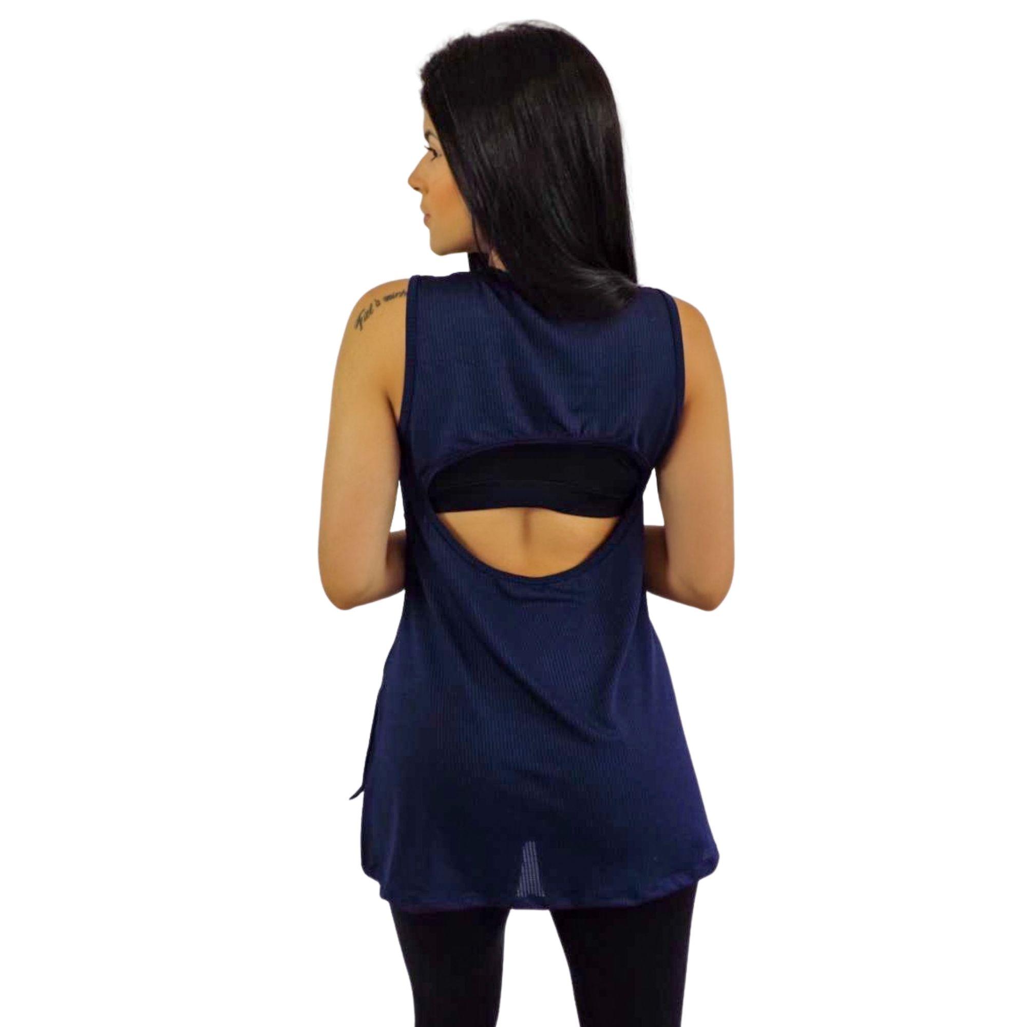 Camiseta Regata Feminina Dry Fit Azul Marinho