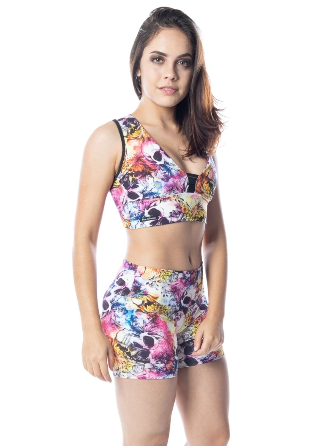 Conjunto Fitness Estampado Poliamida Short+Top
