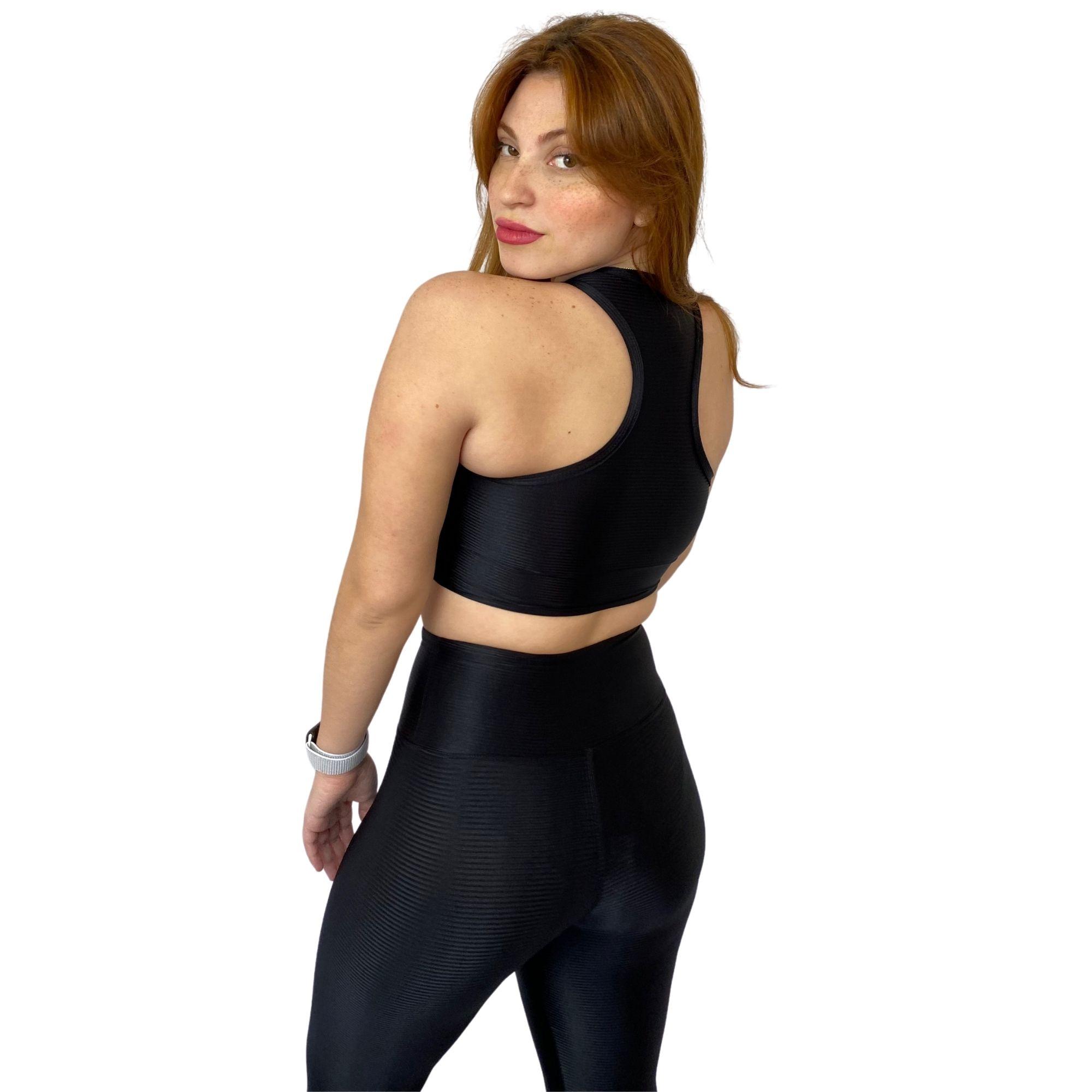Conjunto Fitness Top com Legging Poliamida Preto