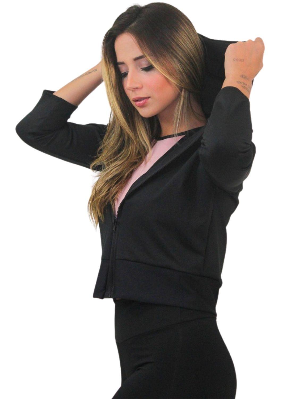Jaqueta de Bolso Feminina Dry Fit Preta