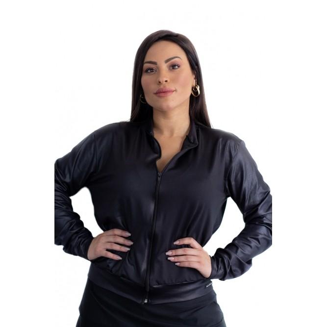 JAQUETA ESPORTIVA PRETA CIRRÊ COURO FAKE