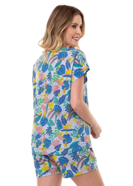 Pijama Short Doll Tropical Feminino Mica Estampado