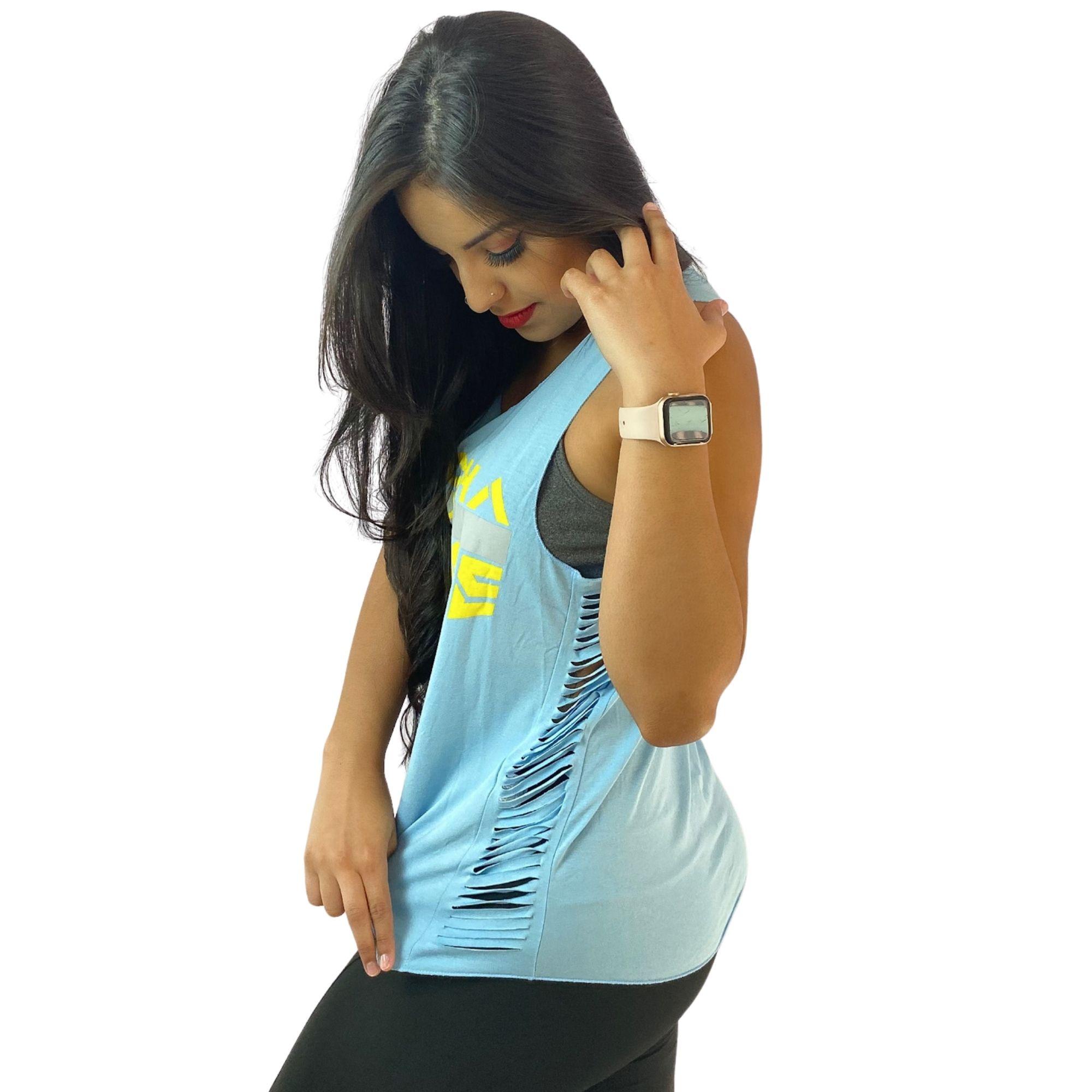 Regata Feminina Azul Recortes Agacha Que Cresce