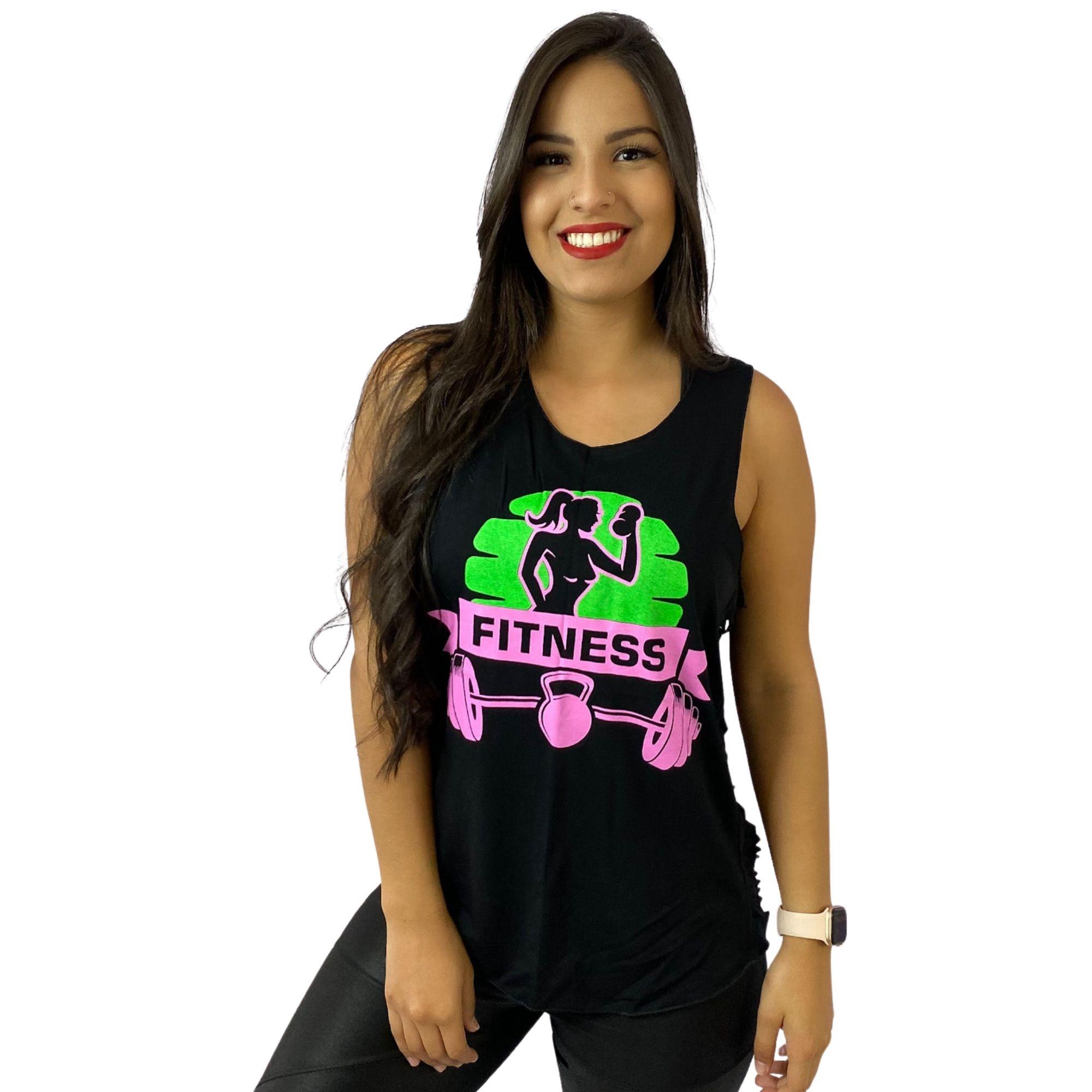 Regata Feminina Preta Recortes Fitness