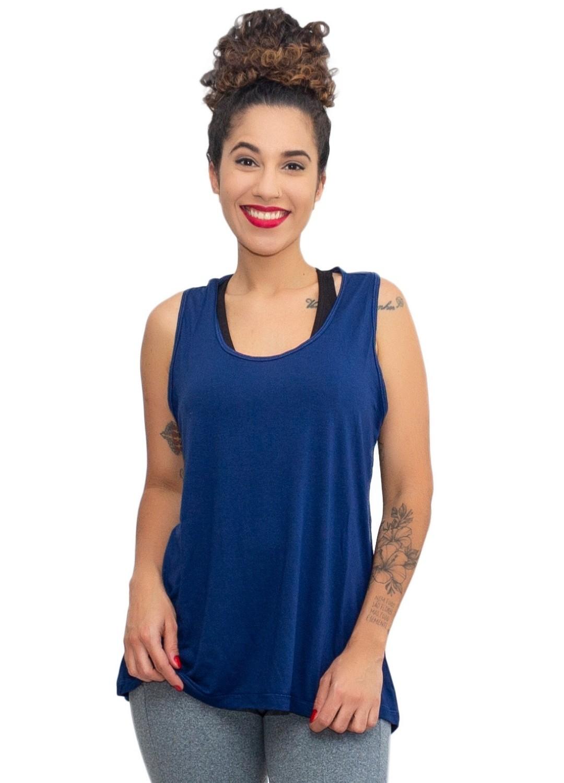 Regata Fitness Feminina Tapa Bumbum Azul Marinho