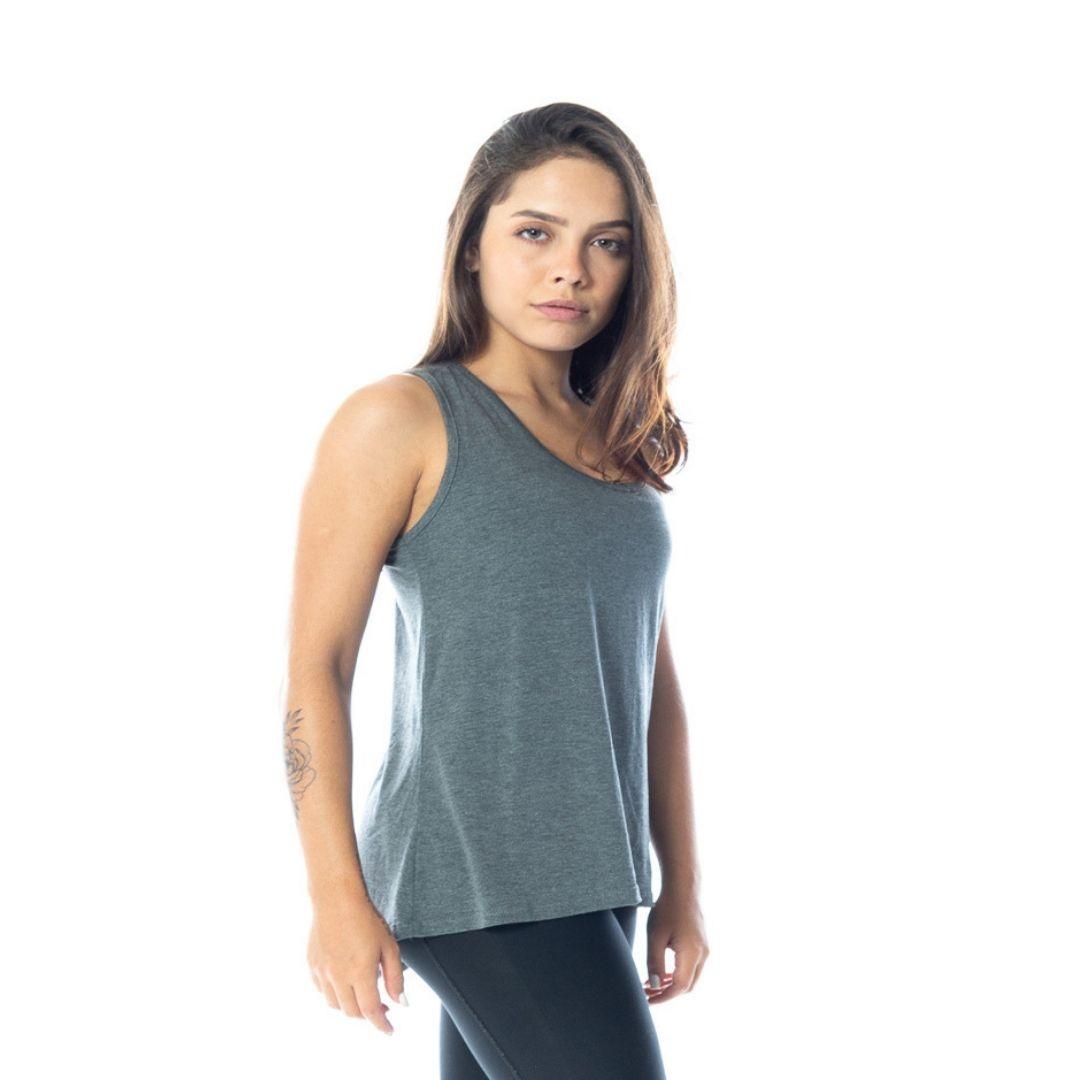 Regata Fitness Feminina Tapa Bumbum Cinza