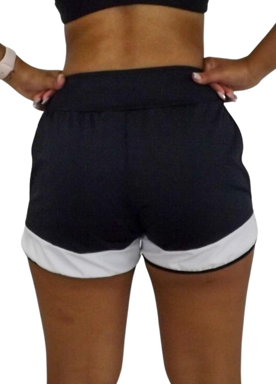 Short Fitness Feminino Corrida Preto e Branco