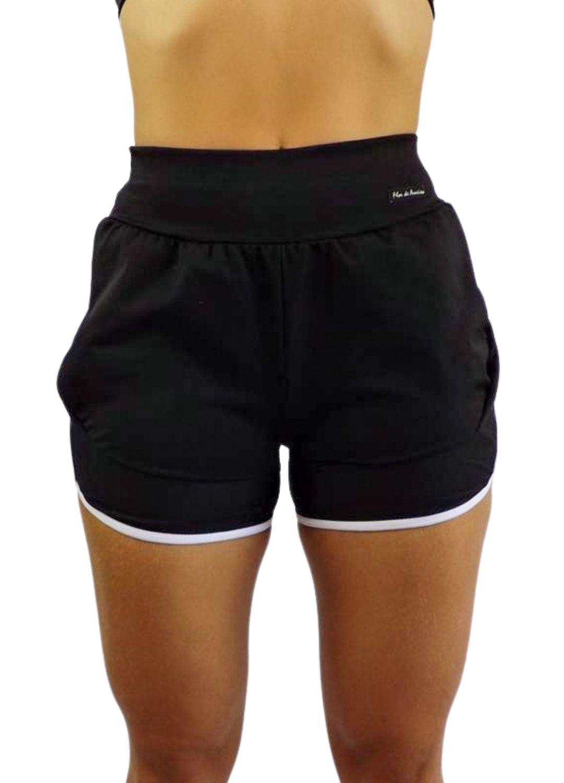 Short Fitness Cintura Alta Suplex Bainha Preto