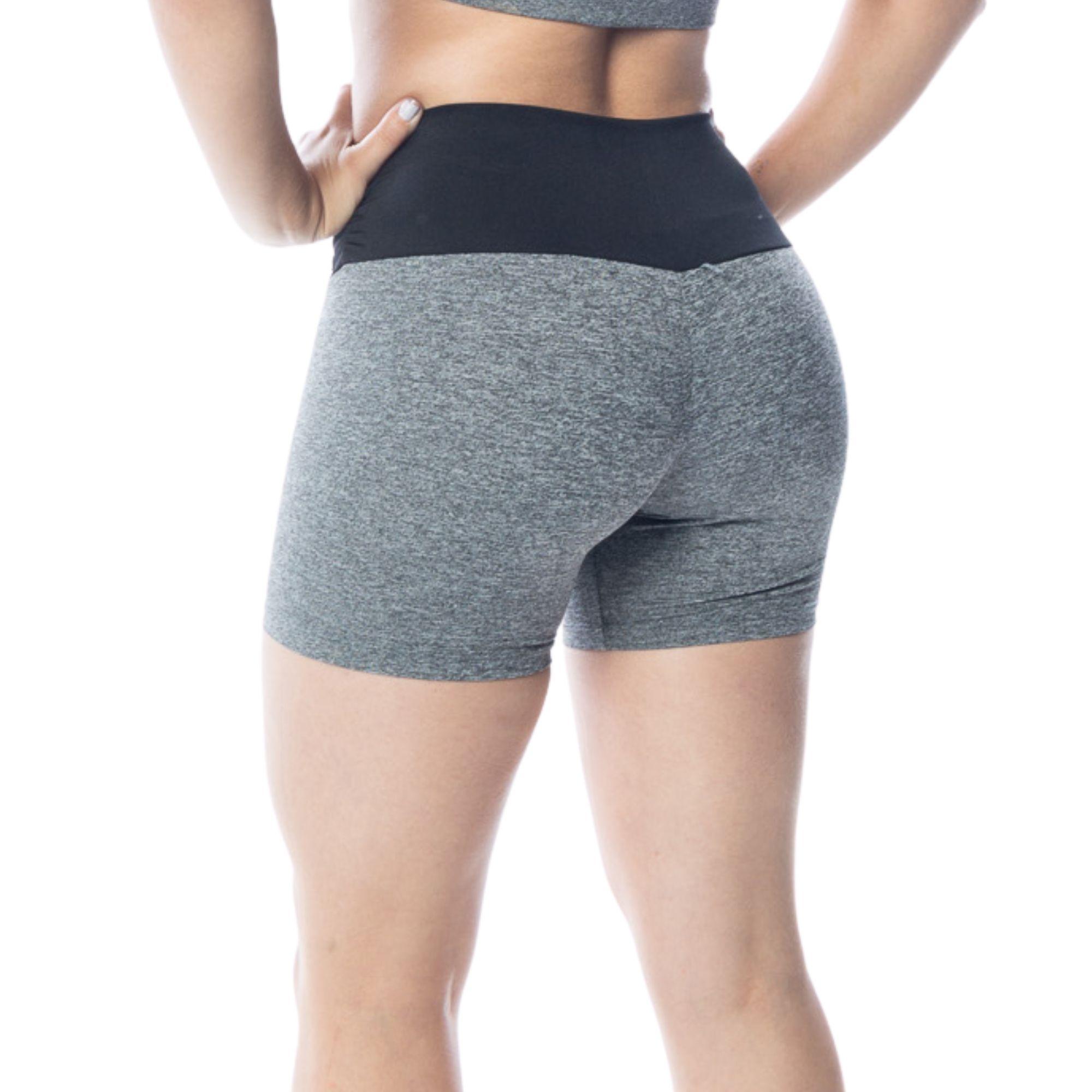 Short Fitness Meia Coxa Cinza Mescla
