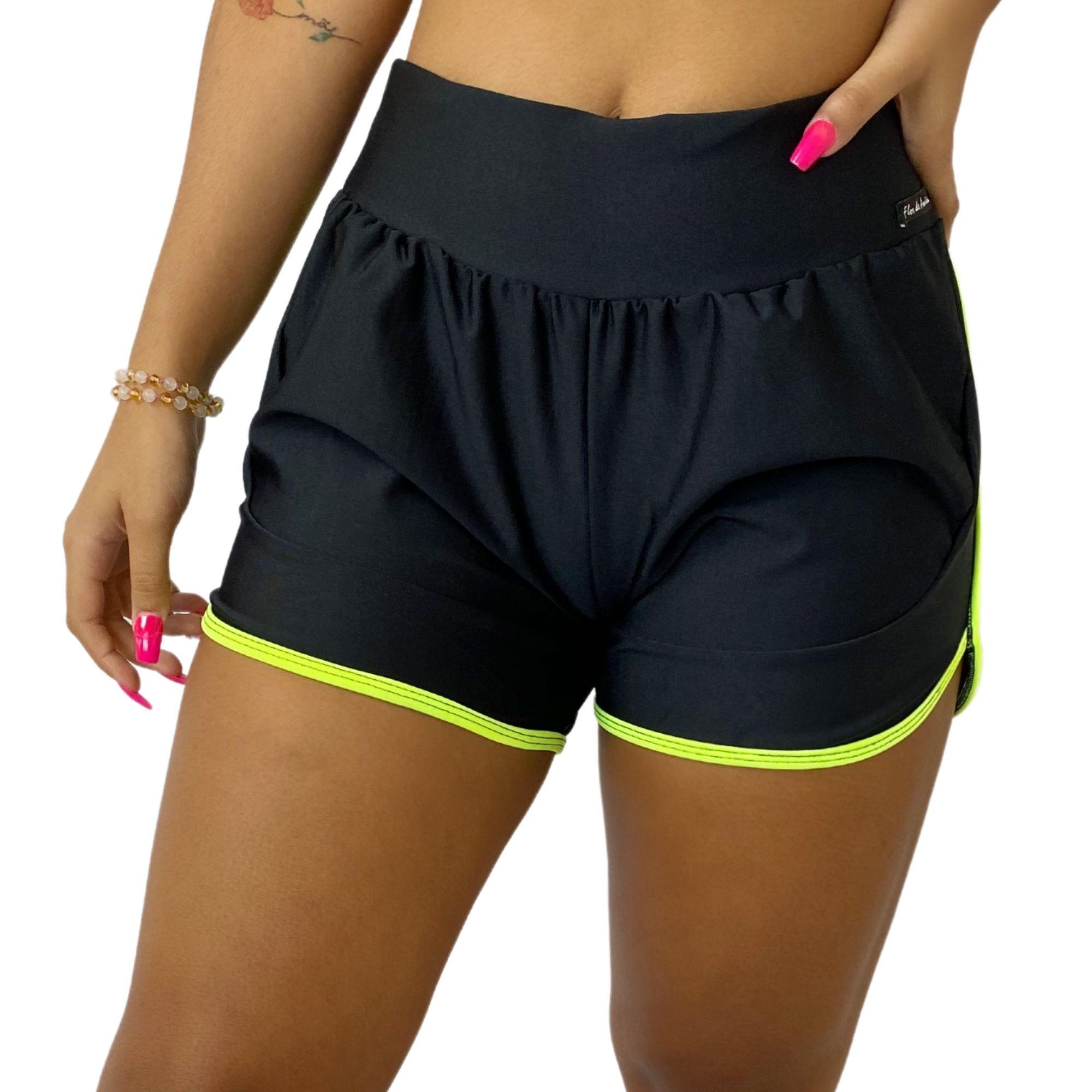 Short Fitness Feminino Corrida Bainha Neon