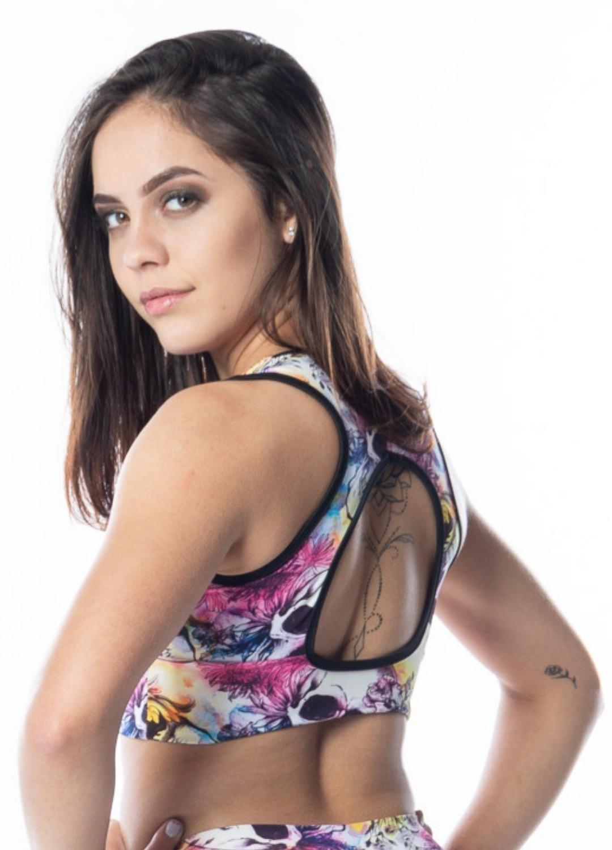Top Fitness Com Bojo Caveira Mexicana Decote