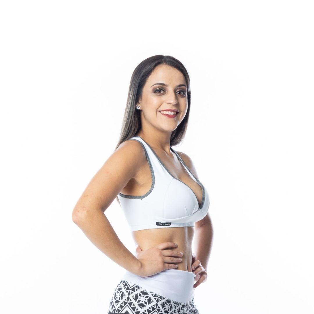 Top Fitness Branco Feminino Academia Poliamida