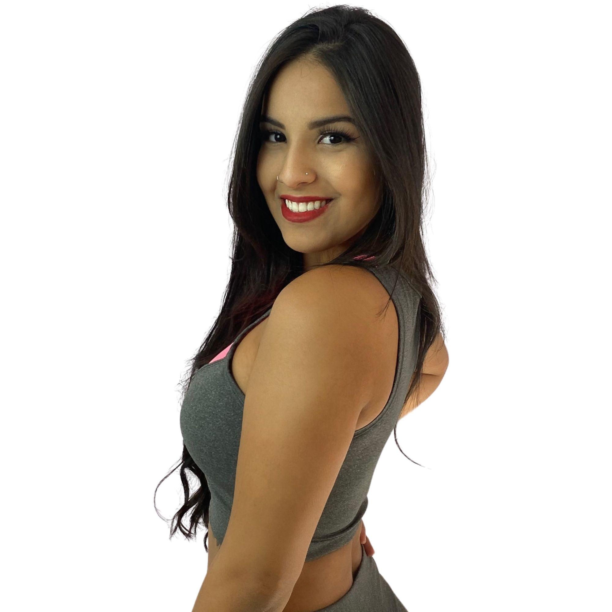 Top Fitness Cinza Com Detalhes Em Dry Fit Rosa