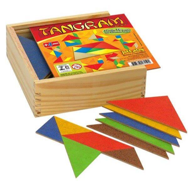 Caixa com 10 Jogos Tangran em Madeira