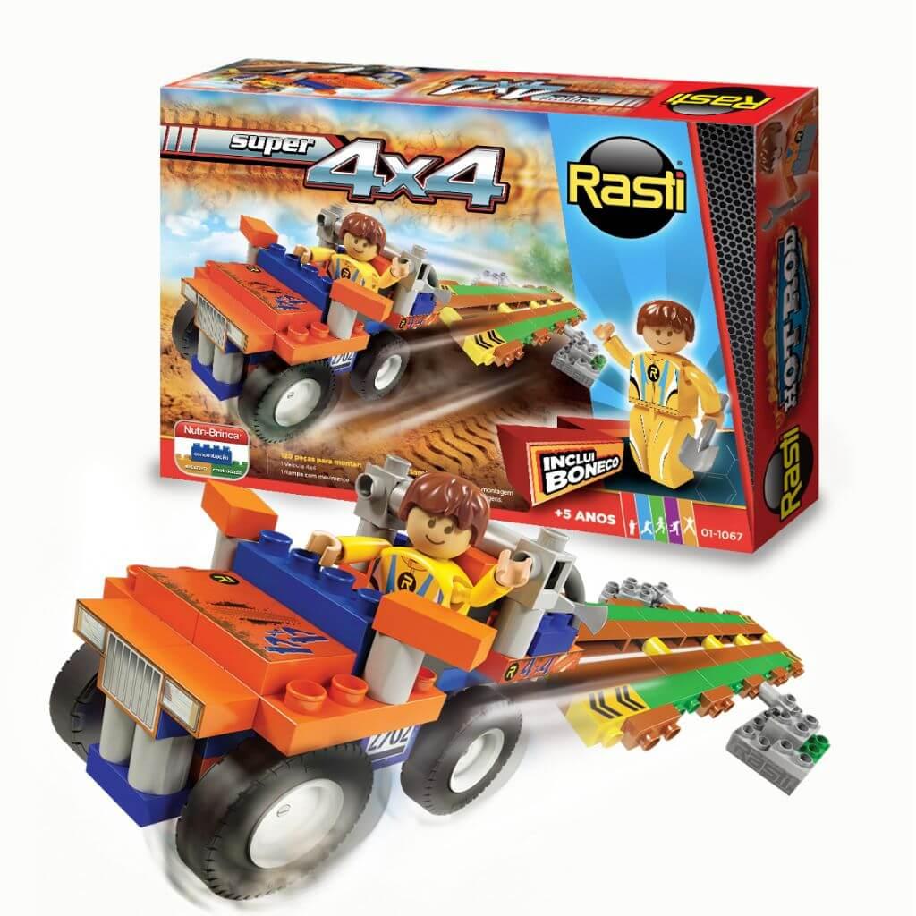 Kit Super 4X4 de Blocos de Encaixe Rasti com 120 Peças