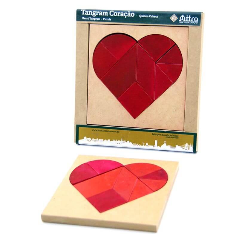Quebra-Cabeça Tangram Coração, Desafio de Raciocínio e Concentração