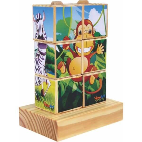 Quebra-Cabeças Bicharada Maluca em Cubos com 4 Figuras