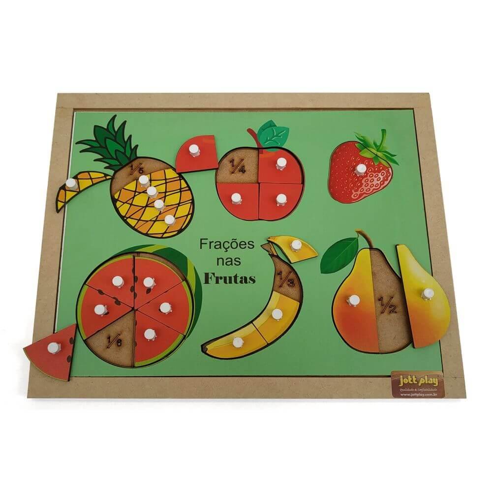 Quebra-Cabeças de Encaixe com Pinos, Frutas e Frações