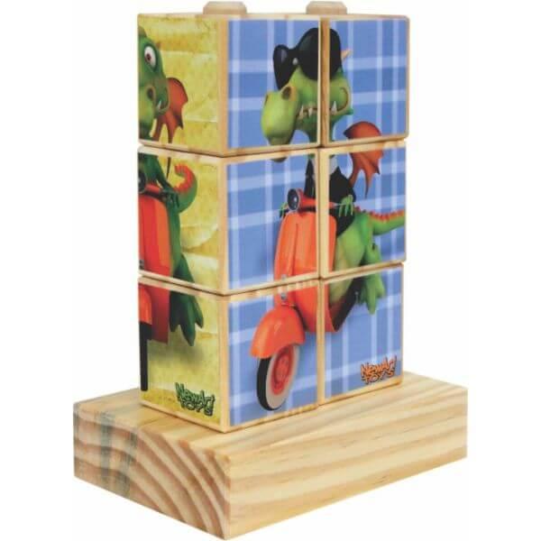 Quebra-Cabeças Dragão em Cubos com 4 Figuras