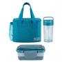 Bolsa Térmica Azul Alça de Mão Concept Com Marmita Dupla e Copo