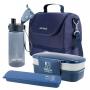 Bolsa Térmica Azul For Men Com Marmita Dupla 1200ml, Porta Talheres e Squeeze