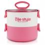 Bolsa Térmica de Mão Rosa Concept com Marmita Dupla 1600 ml Life Style