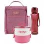 Bolsa Térmica de Mão Rosa Concept com Marmita Dupla e Squeeze