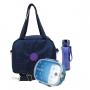 Bolsa Térmica Feminina Yeppbag com Marmita e Squeeze Azul