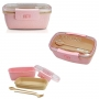 Bolsa Térmica Rosa Alça de Mão Concept Com Marmita 650ml e Copo