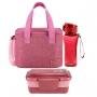 Bolsa Térmica Rosa Alça de Mão Concept Com Marmita Dupla e Garrafa