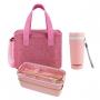 Bolsa Térmica Rosa Alça de Mão Concept Com Marmita e Copo Ecológico