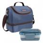 Kit Bolsa Térmica Azul Com Marmita Dupla Rosa Jacki Design
