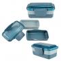 Kit Bolsa Térmica Azul Dots Com Marmita 950ml, Garrafa Verde e Porta Talheres