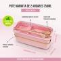 Kit Bolsa Térmica Cinza Com Marmita Ecológica Rosa 750ml e Copo Ecológico