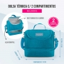 Kit Bolsa Térmica Dupla Com Marmita e Porta Talheres Azul Concept