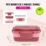 Kit Bolsa Térmica Dupla Com Marmita e Porta Talheres Rosa Concept