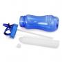 Kit Bolsa Térmica Em Nylon Com Garrafa Fitness De Canudo Retrátil Azul