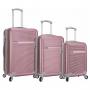 Kit com 3 Malas de Viagem Média, Pequena e Mini Com Rodinhas 360º Palermo Rosa