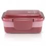 Kit lancheira Look vermelho Marmita Dupla Rosa Concept