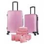 Kit Malas de Viagem Média e Pequena Rodinhas 360 e Cadeado TSA Com Organizadores Rosa Glitter