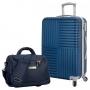 Mala de Viagem Média Turim ABS Azul Giro 360° Com Bolsa Transversal