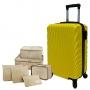 Mala De Viagem Pequena em Abs Santarém Com Kit Organizadores Amarela